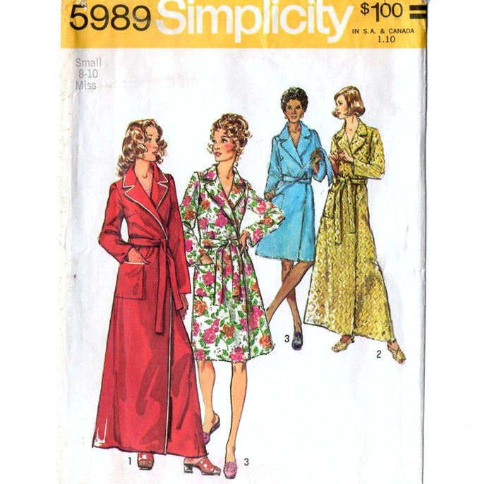 Simplicity 5989 Misses Wrap Robe 70s Vintage Sewing Pattern Size Small 8-10 Bust