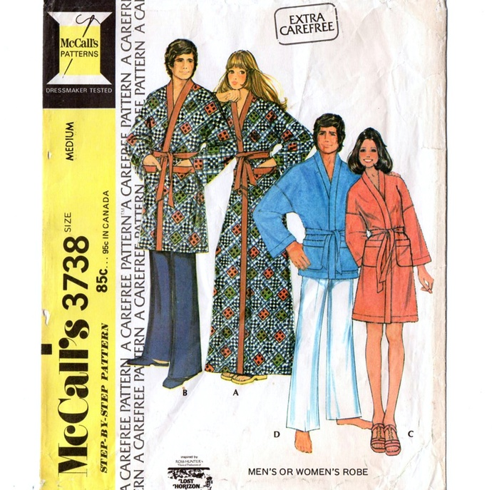 McCall's 3738 Men/Misses Wrap Robe 70s Vintage Sewing Pattern Size Med 34 - 36