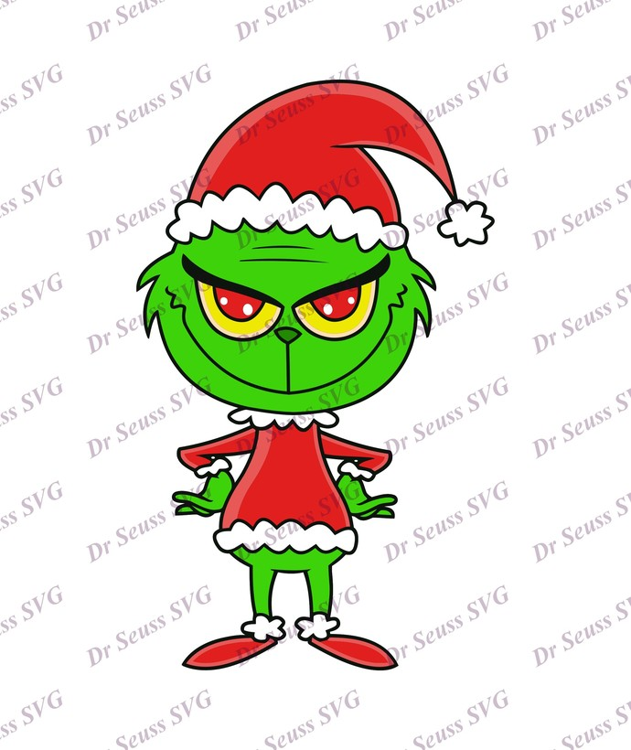 Grinch With Christmas Hat SVG 2, svg, dxf, Cricut, Silhouette Cut File, Instant