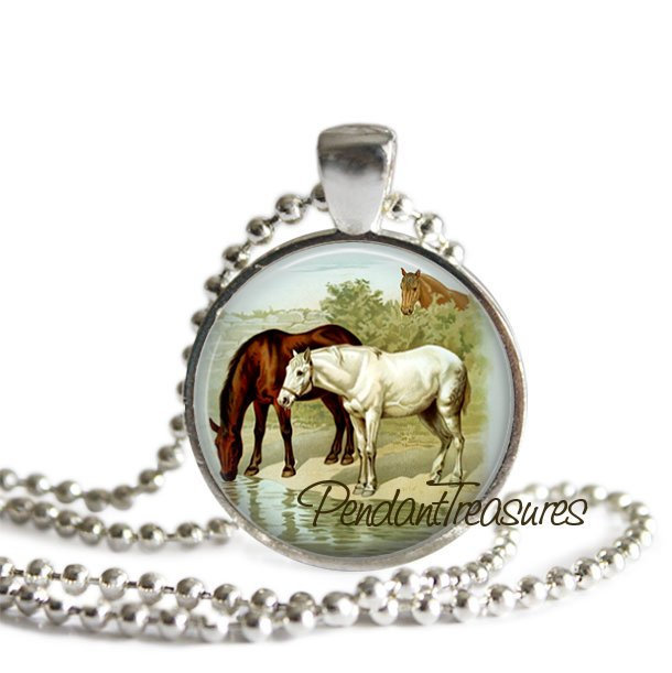 HORSE Art Pendant Necklace Brown & White Horse Jewelry, Horse Charm Handmade