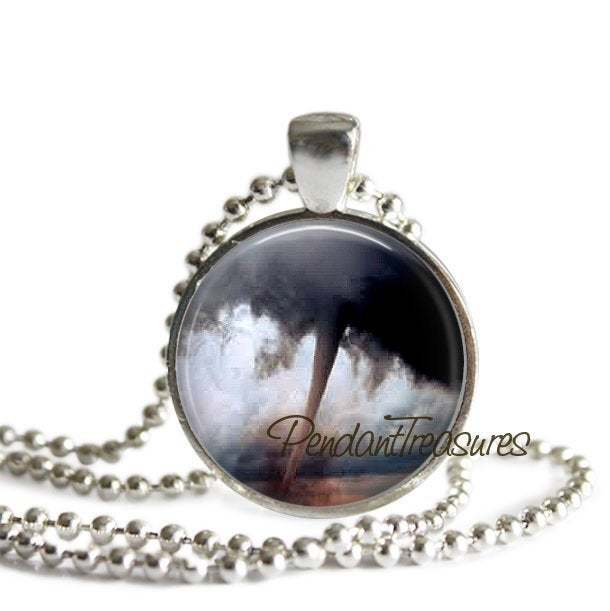 TORNADO Art Pendant Necklace Funnel Cloud Twister Jewelry, Tornado Charm