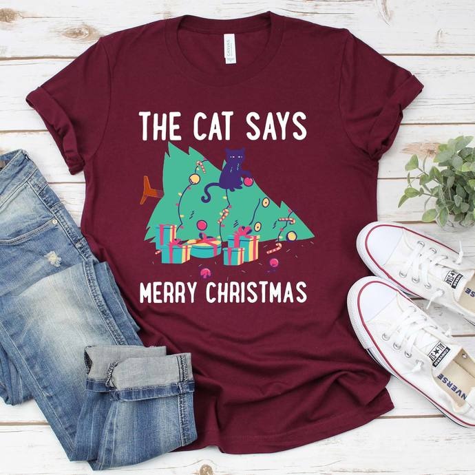 The cat says merry christmas, cat, cat lover, cat design, christmas
