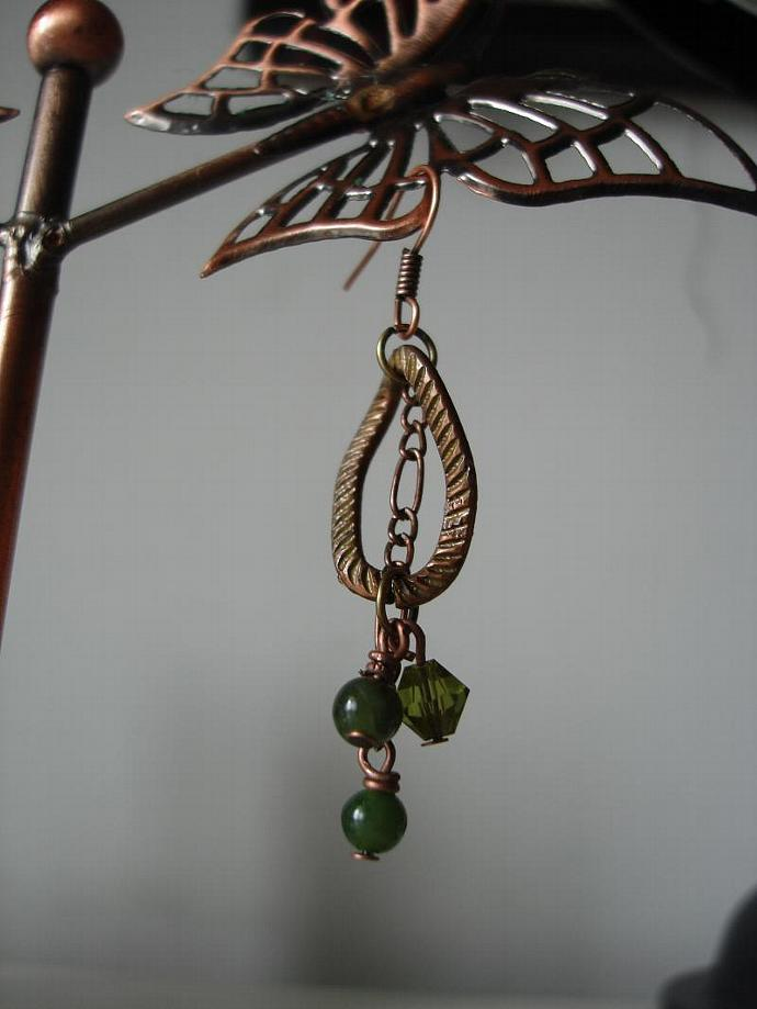 Jade + Copper Earrings