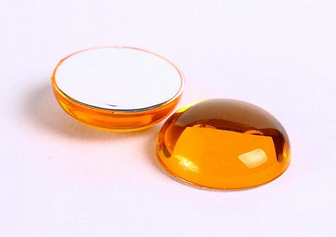 Topaze orange 18mm Acrylic Round Cabochon with Silver Foil 2pc (137)