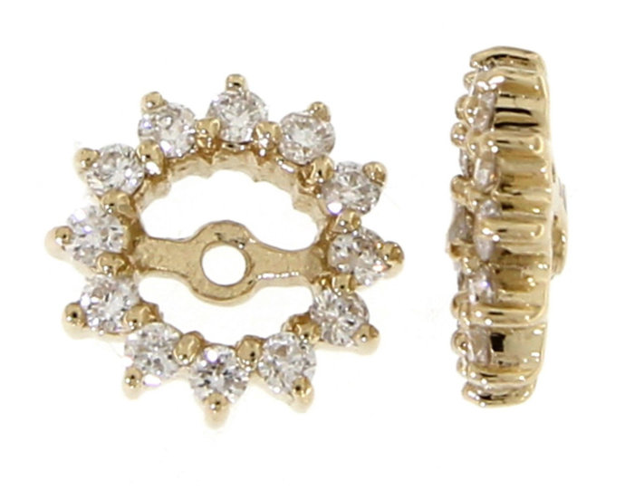Solid Real Halo  Round Semi Mount Diamond  Jacket Earrings14K Yellow Gold 0.26CT