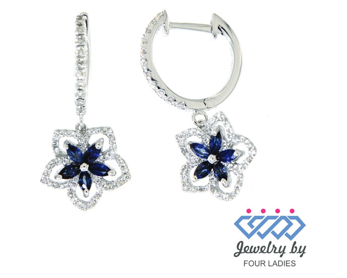 Solid Real Blue Sapphire Danglings Earrings 14K White Gold 0.43 CT Handmade
