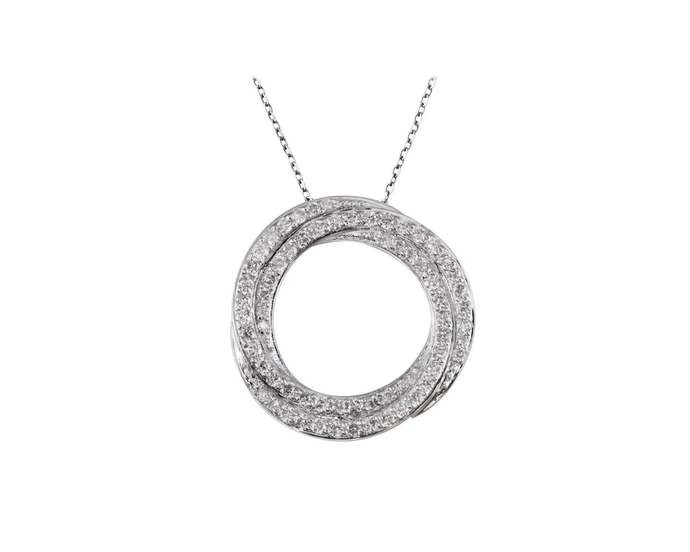 Solid Real Natural Round Diamond Pendant 14K White Gold 0.55CT Handmade Circle