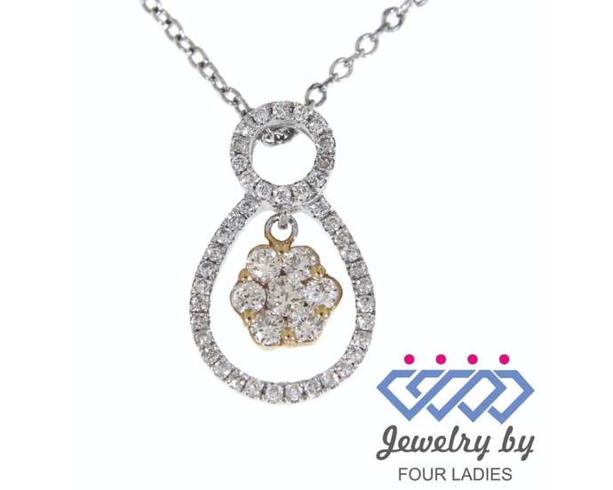 Solid Real Natural Fancy Floral Diamond Pendant  14K Multi-Tone Gold 0.42CT