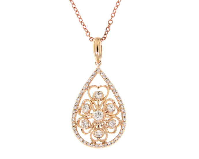 Solid Real Natural Pear Shape Fancy Diamond Pendant 14K Rose Gold 0.42CT