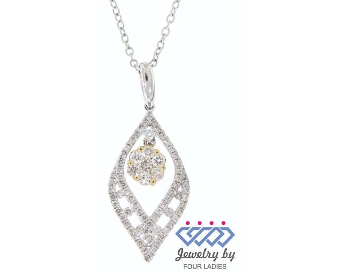 Solid Real Natural Fancy Marquise Diamond Pendant 14K Multi-Tone Gold 0.55CT