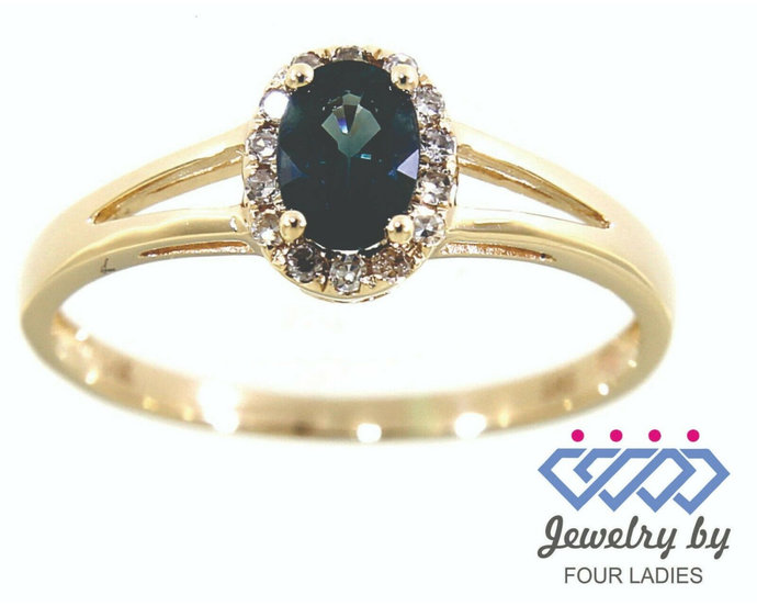Solid Real Natural Fine Halo Diamond Blue Sapphire Ring| September Gemstone| 14K