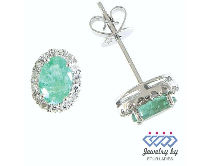 Solid Real Natural Halo Diamond Oval Emerald Stud Earrings| May Green Gemstone|