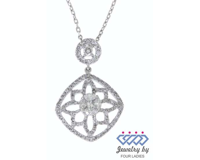 Solid  Real Natural Fancy Diamond Pendant 18K White Gold  0.63CT Handmade