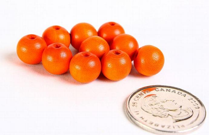 Round Czech wood beads orange 10mm 10pc  (065)