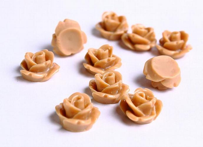 Resin rose flower rosebud cabochon brown 10mm 10pc (080)