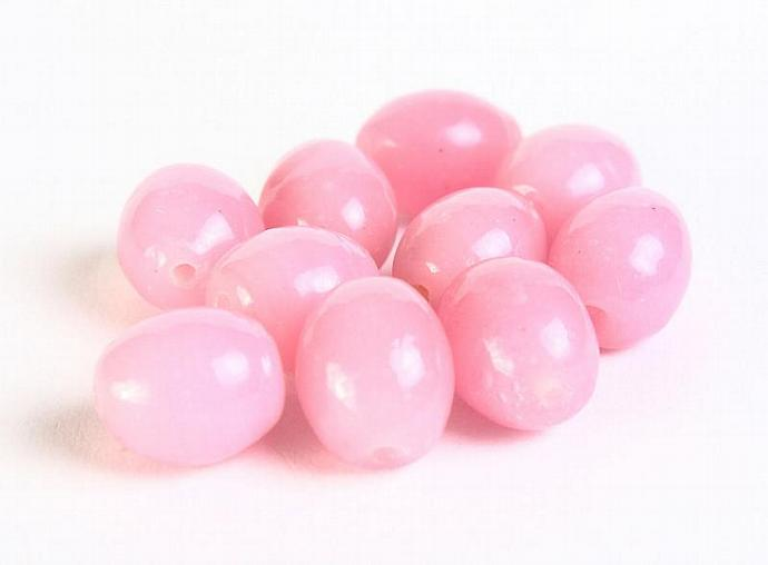 Pink oval 8x10mm glass beads 10pc  (036)