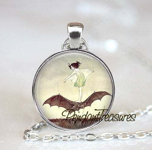GIrl with Bat Art Pendant Necklace BatJewelry, Bat Charm Handmade Glass Photo