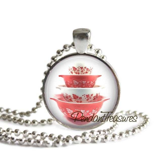 Vintage PYREX Art Pink Gooseberry Bowls Handmade Glass Pendant Necklace