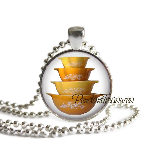 Vintage PYREX Art Butterfly Gold Bowls Handmade Glass Pendant Necklace