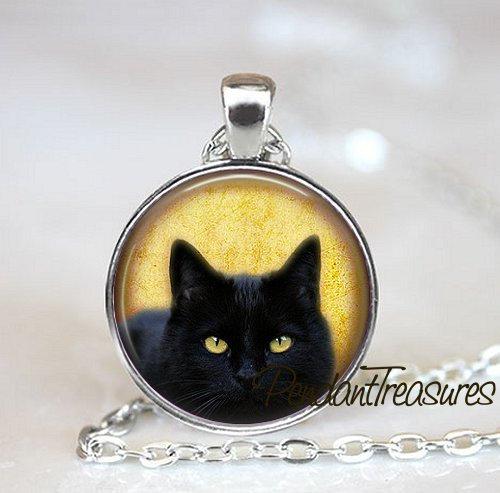 BLACK CAT Art Pendant Necklace Kitten Jewelry, Cat Charm Handmade Glass Photo