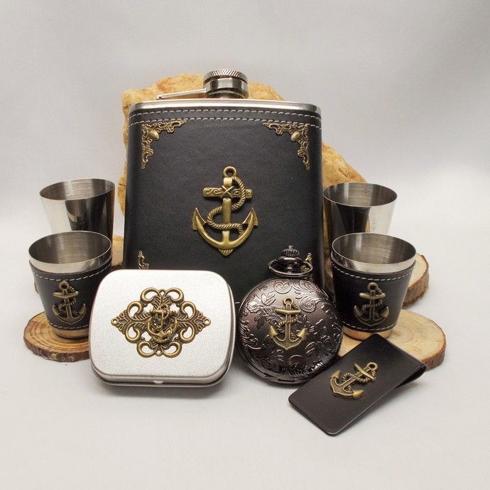 Anchor Flask Set Pocket Watch and Mini Tin Black n Bronze 50% Off Sale Stainless