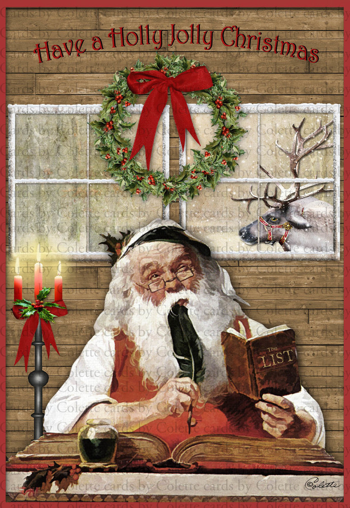 Santa Making a List Digital Collage Greeting Card2499