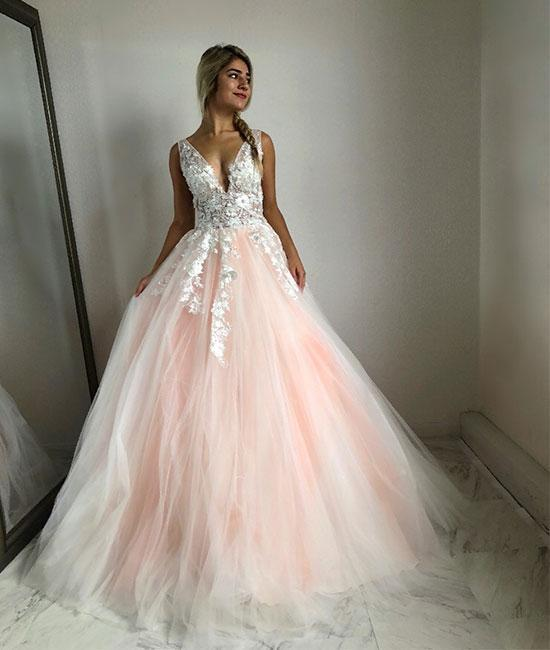 Charming A-Line V Neck Pink Tulle Long Prom/Wedding Dress with Appliques