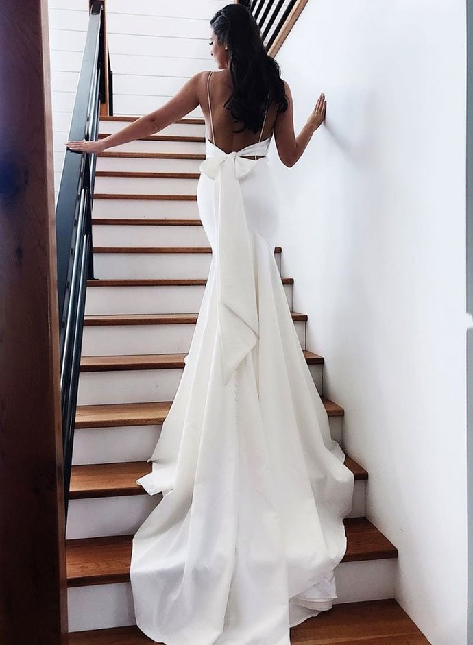 Sexy Mermaid Spaghetti Straps White Long Prom/Evening Dresses with Backless