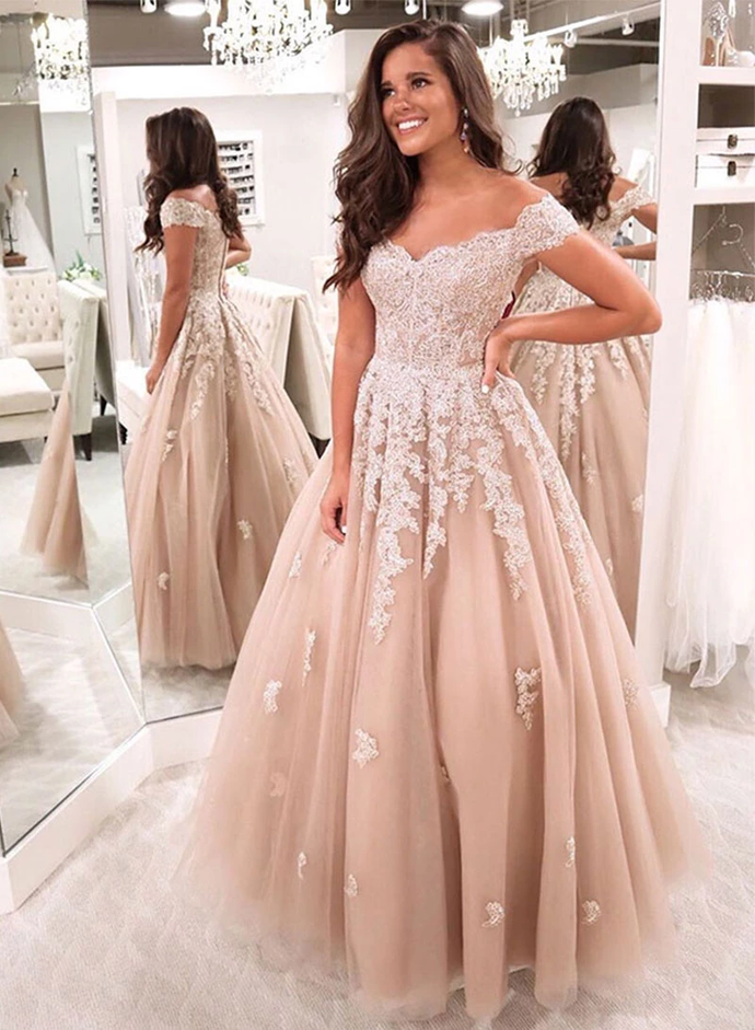 Glamorous A Line Off the Shoulder Champagne Long Prom/Evening Dress with