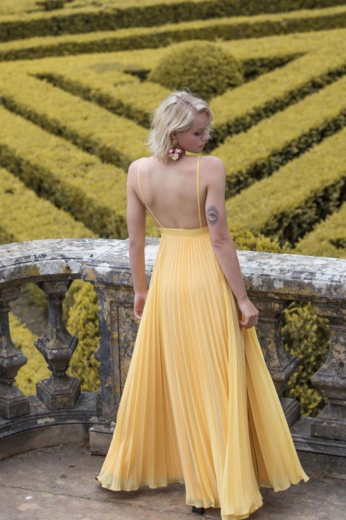Sexy A Line Spaghetti Straps Yellow Prom Dresses with Backless