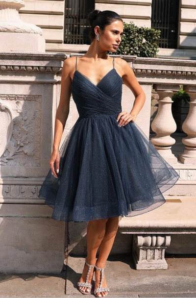 Classic A Line Spaghetti Straps Navy Blue Short Homecoming Dresses