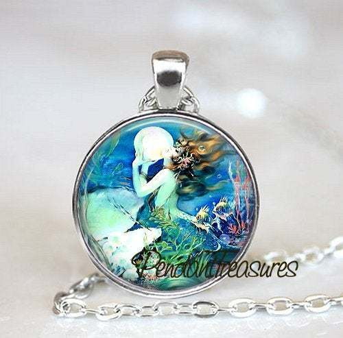 MERMAID With Pearl Art Handmade Glass Pendant Necklace, Sea Nymph Siren Fantasy