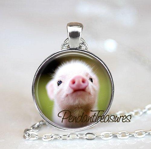 PINK PIG Art Pendant Necklace Farm Jewelry, Pig Charm Handmade Glass Photo Art