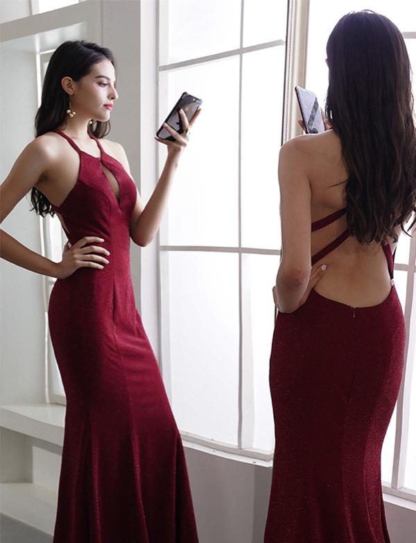 Cheap Burgundy Prom Dresses Halter Backless Evening Dresses