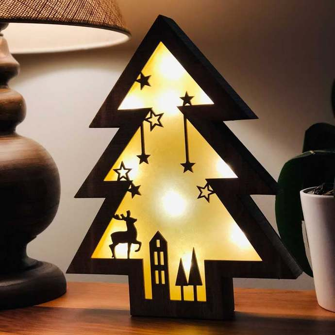 Wooden Tree Shaped Christmas Lamp, Christmas Lamp, Gift Lamp, Table Lamp, Desk
