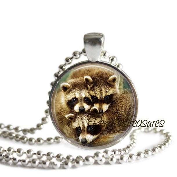 RACCOON Necklace, Raccoon Pendant, Raccoon Jewelry, Raccoon Charm, Baby Raccoon,