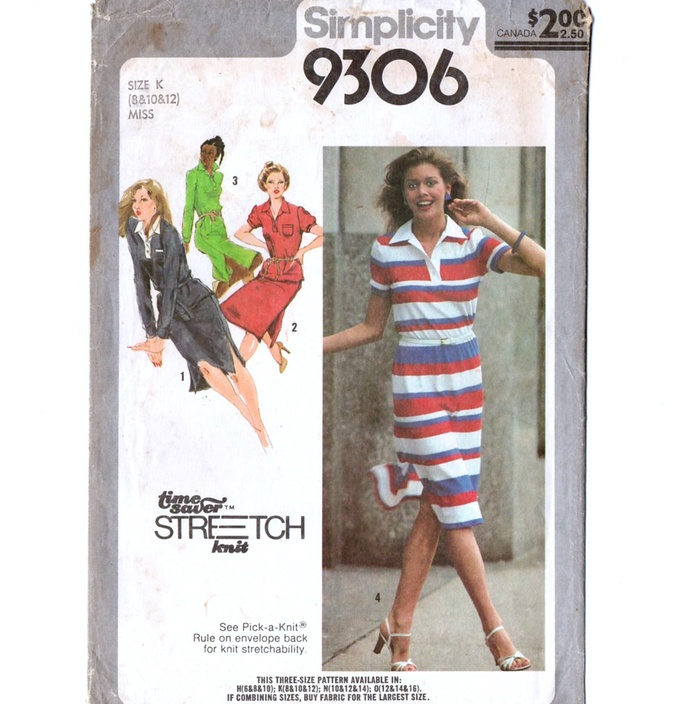 Simplicity 9306 Misses Knit Dress 70s Vintage Sewing Pattern Size 8, 10 Bust 32