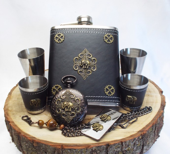 Royal Elephant Flask Set Pocket Watch n Money Clip Black n Bronze 50% Off Sale