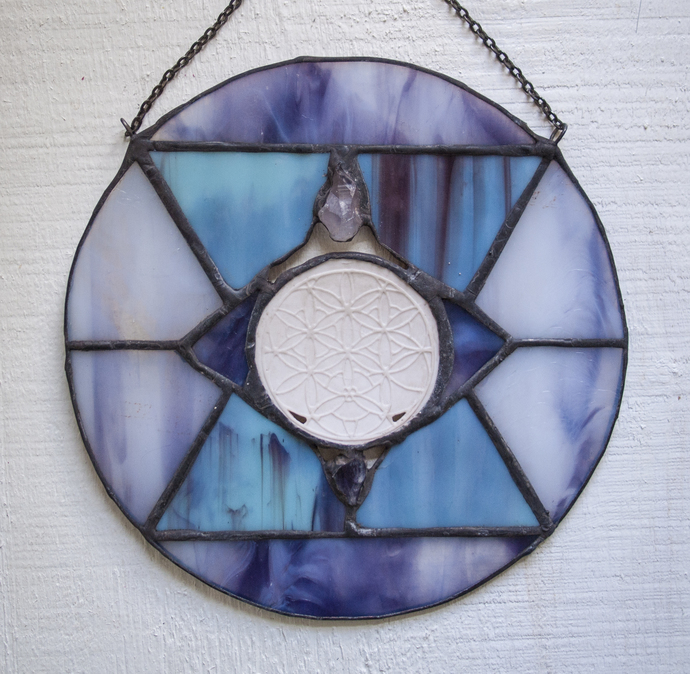 """Harmony,"" Stained Glass Talisman with Flower of Life and Amethyst"