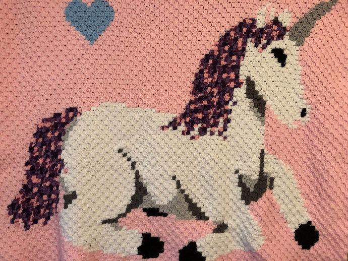 Baby Unicorn Love Crochet Pattern Corner to Corner PDF Graph and Written Color