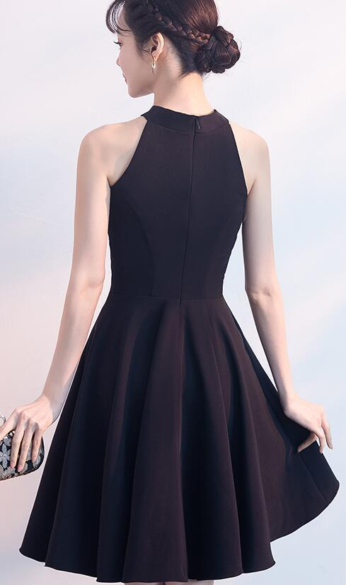 Simple Short Halter Black Knee Length Party Dress,Black Homecoming Dress