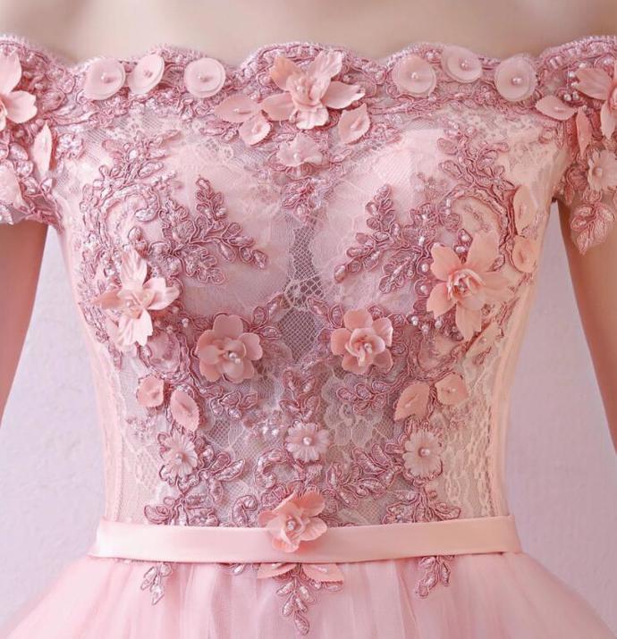 New Pink Off Shoulder Tulle Prom Dress 2020, Long Formal Dress