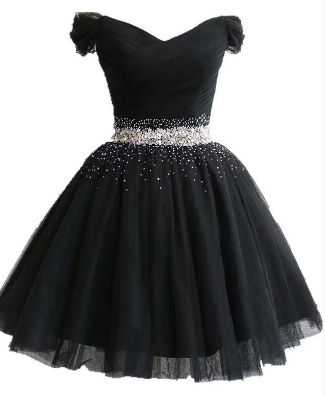 Black Off Shoulder Beaded Party Dress, Black Homecoming Dress