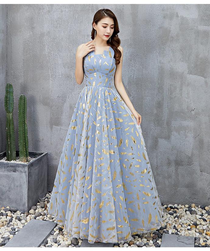 Beautiful Blue Floor Length Prom Dress, Charming A-line Formal Dress