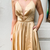 Halter Lace-Up Mesh Gold Long Prom Dress with Slit,