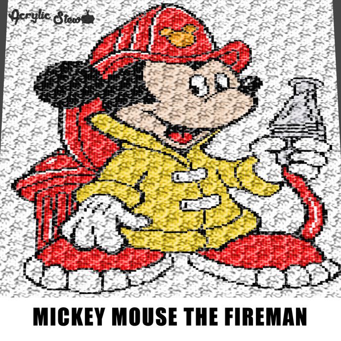 Mickey Mouse Firefighter Fireman Disney Cartoon Fire Hose crochet graphgan