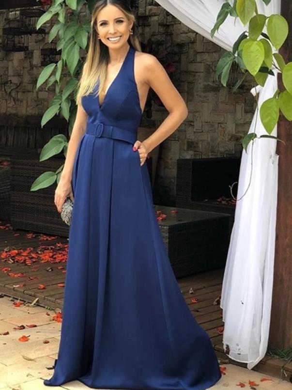 Navy Blue Formal Dresses with Belt, Evening Dresses