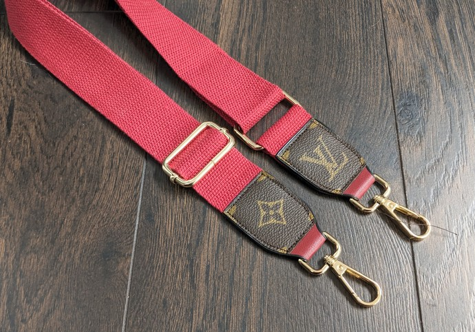Customized LV red bag strap - Louis Vuitton bag strap - upcycled LV bag strap -