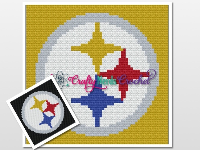 Steelers Pillow Pattern Graph With Single Crochet Written