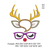 Reindeer face Applique with glasses embroidery design,Deer embroidery design